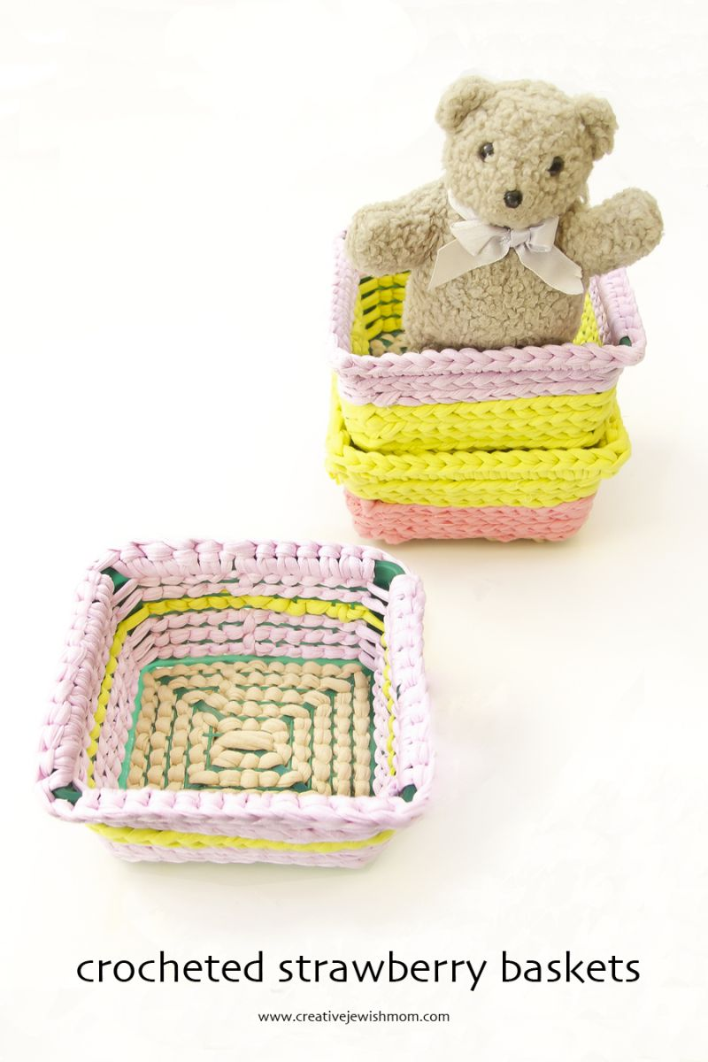 Love this idea from @creativejmom for upcycling a strawberry basket with crochet!