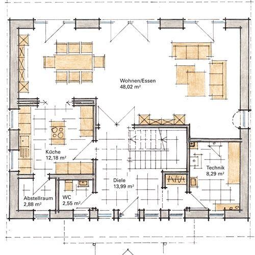 Traumhaus grundriss  GUSSEK HAUS Musterhaus Diana (Grundriss EG) | Küche Grundriss ...