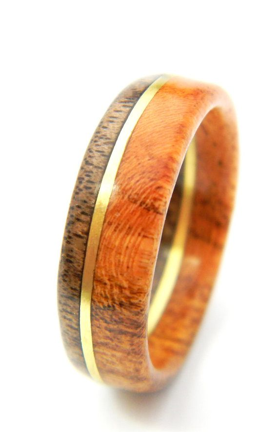 Unique Walnut And Cherry Wood Ring Jewelry Weddings Wedding Band Engagement Spring Him Men Gift Mens