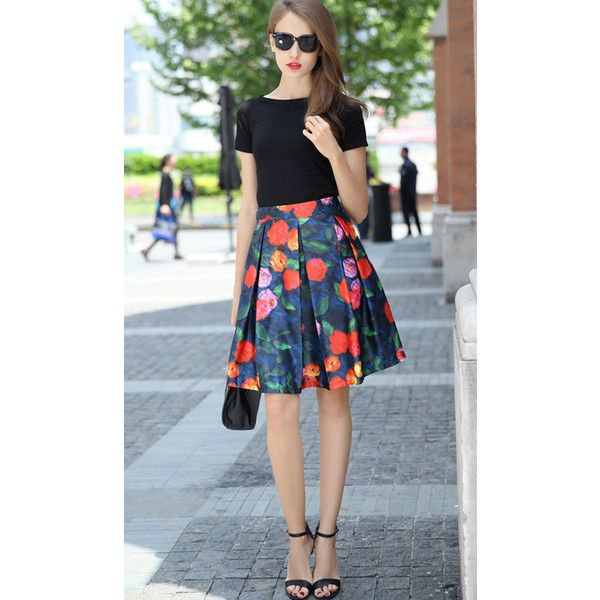 SheIn(sheinside) Black Short Sleeve Slim Top With Floral Skirt (378.505 IDR) ❤ liked on Polyvore