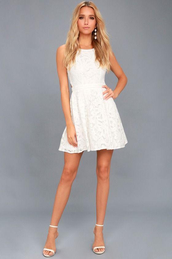 23c505b66efd9 Lulus   Daisy Date White Lace Skater Dress   Size Medium   100 ...