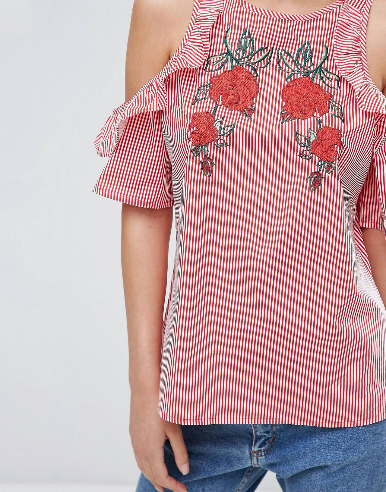 New Look Embroidered Ruffle Stripe Shell Top | Blusas, Ropa y Camisas