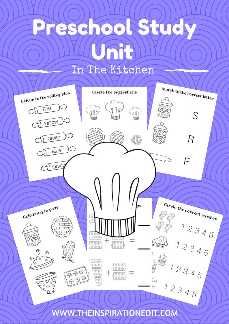 In The Kitchen Free Preschool Work Book For Kids | Kitchens ...