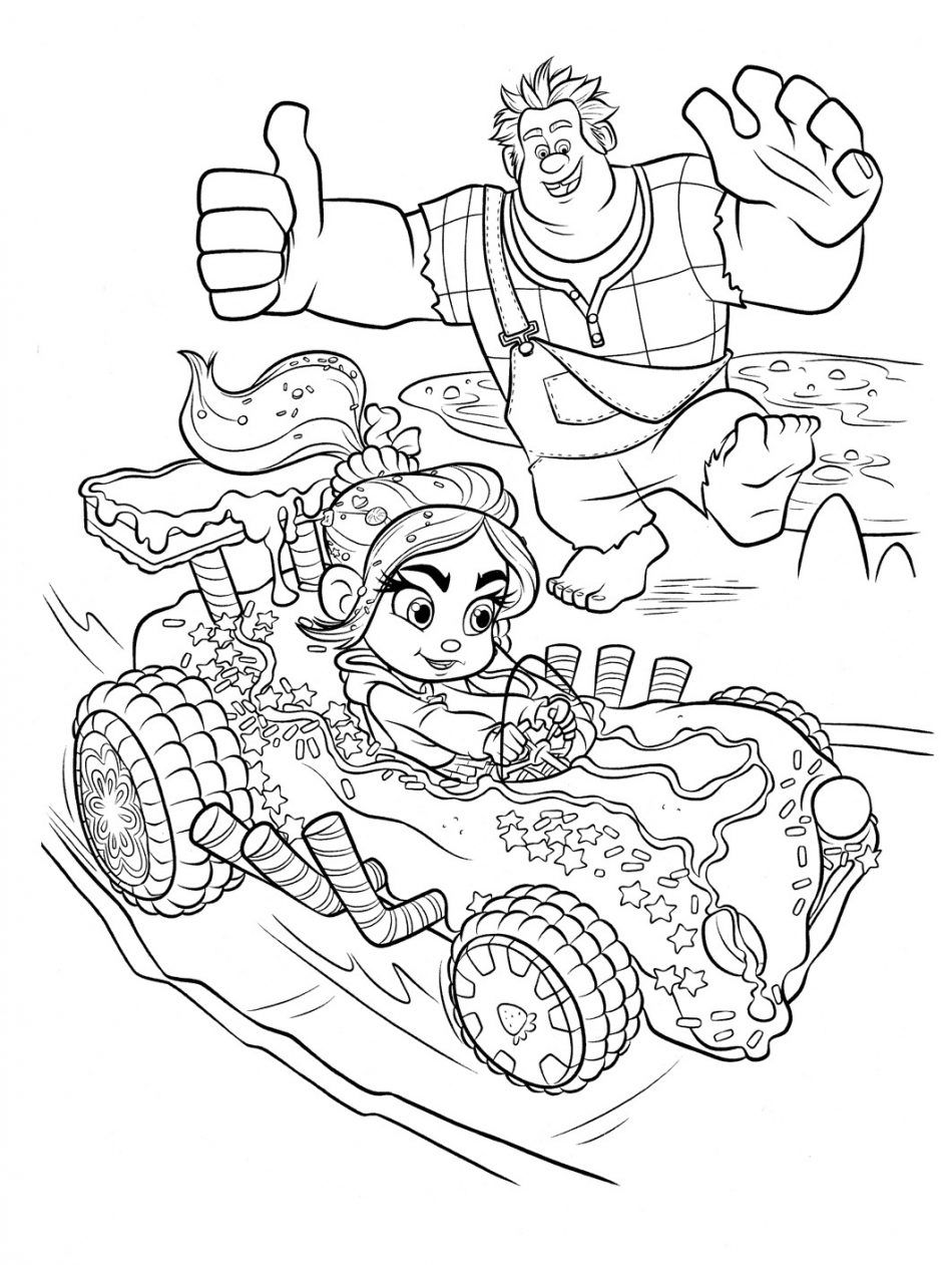 Vanellope Racing Coloring Page Disney Coloring Pages Coloring Pages Cartoon Coloring Pages