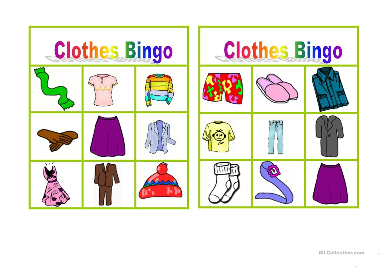 Clothes Bingo Worksheet