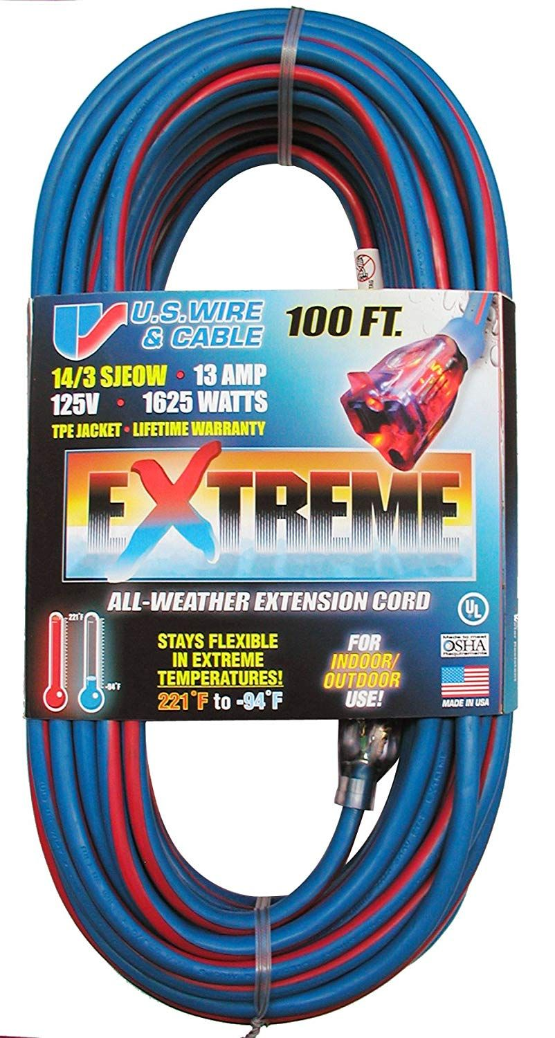 Us Wire 98100 14 3 100 Foot Sjeow Tpe Cold Weather Extension Cord Blue With Lighted Plug Check Out This Great Product This Is An A Extension Cord Cord Wire