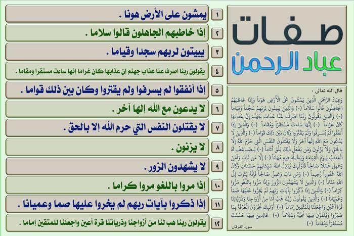 صفات عباد الرحمن في القران Quran Verses Noble Quran Verses