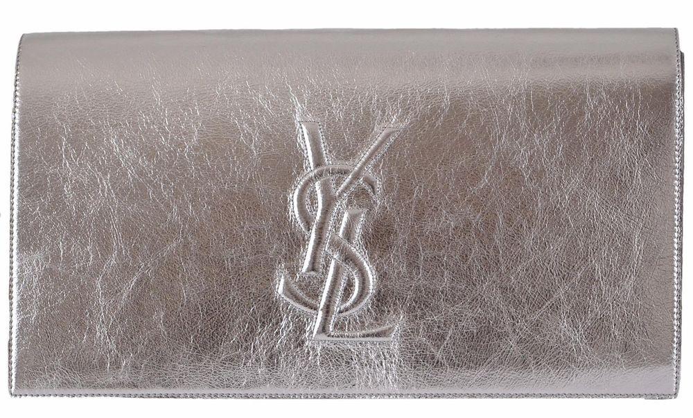 39d4a7e8a7b1 New Saint Laurent YSL 361120 SILVER Leather Large Belle de Jour ...