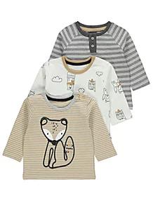 Woodland Animal Print Long Sleeve Tops 3 Pack | Long sleeve