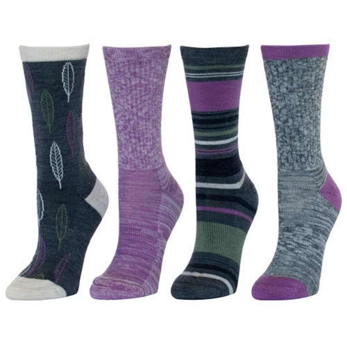 4 Pair Womens Multiple Colors Kirkland Ladies Merino Wool Trail Socks