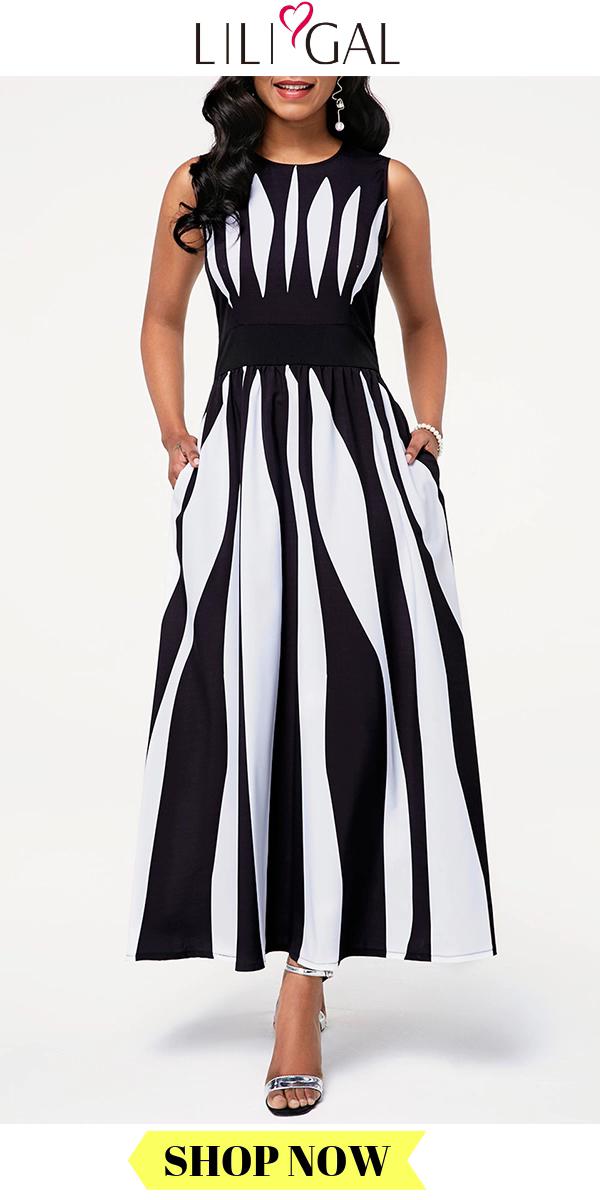 USD3303 Summer Black  White High Waist Round Neck Sleeveless Stripe Print Maxi Dress Source by liligalwomensfashion dresses videos