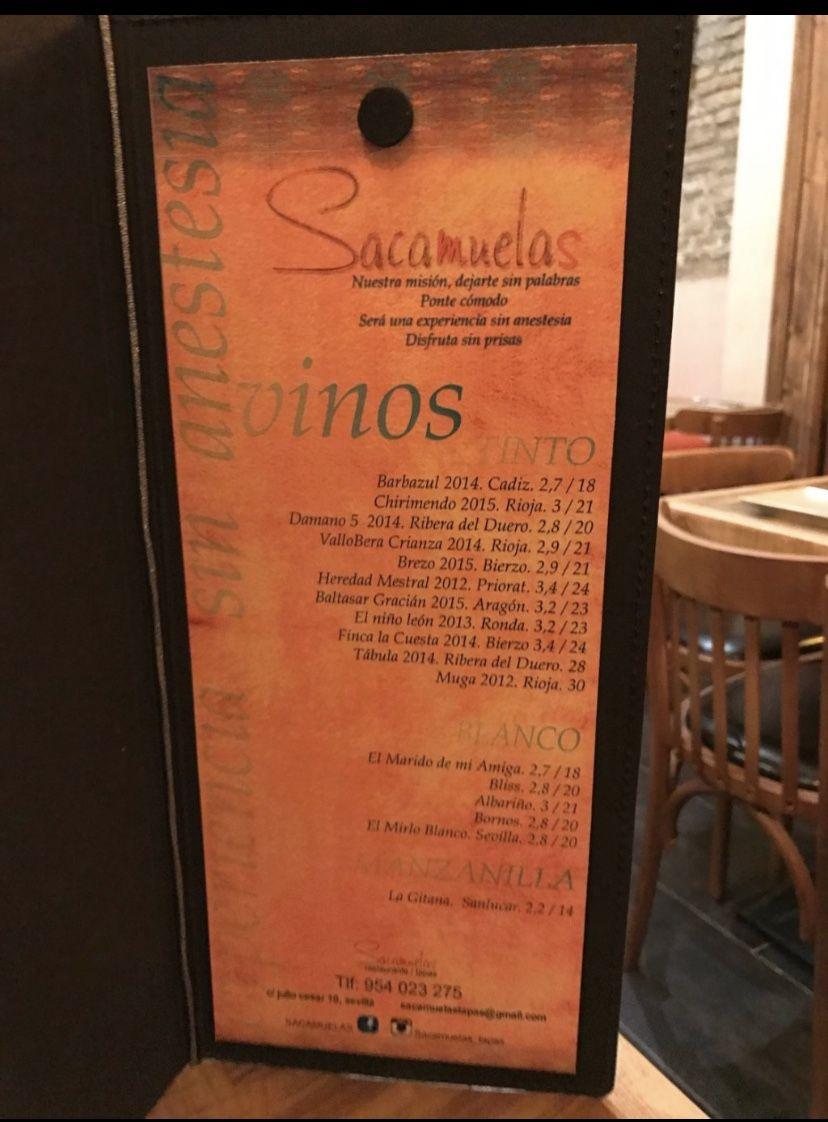 Sacamuelas Rte Sevilla Carta De Vinos Tablas De Quesos Y