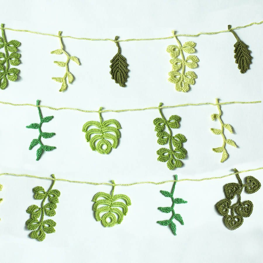 Hand Crocheted Leaf Garland | Crochet leaves, Garlands and Leaves