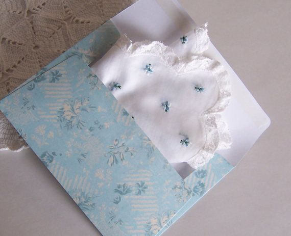 Vintage Lace Wedding Hanky with Blue by GreenbriarCreations