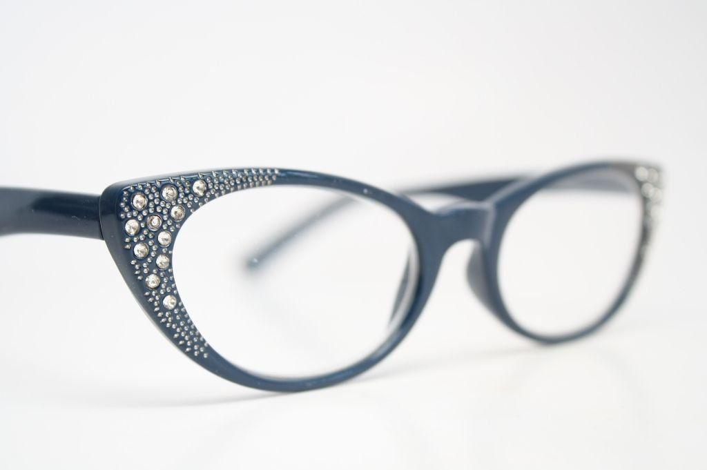 3adb7cb32ad Rhinestone Cat Eye Reading Glasses Vintage Style Pointy Cat Readers (+1.75