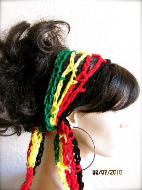 Rasta Colors Hand Crochet Gypsy Style Hair Band and Scarf | Capuchas ...