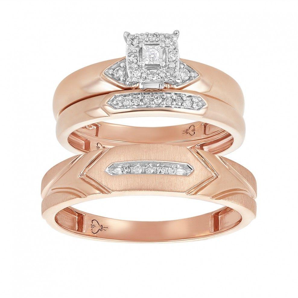 14k rose gold chevron patterned wedding trio in 2020