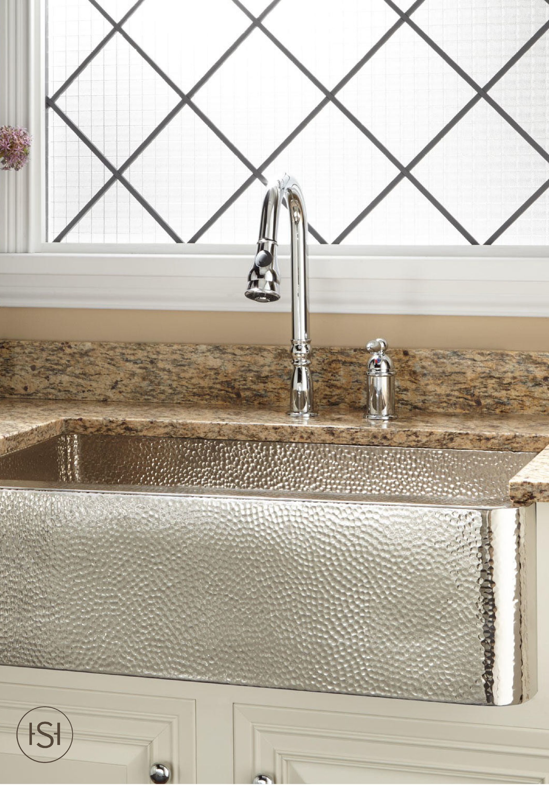 With Its Beautiful Nickel Plated Hammered Copper Details This Farmhouse Sink Is A W Copper Farmhouse Sinks Stainless Steel Farmhouse Sink Kitchen Sink Remodel