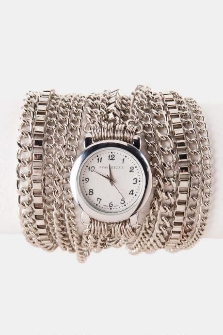 Naples Wrap Watch in Silver $19.98 				      					                             $38.00