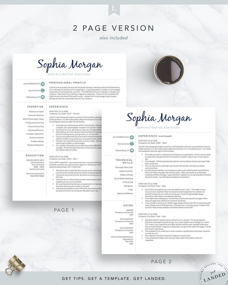 Administrative assistant resume template the sophia