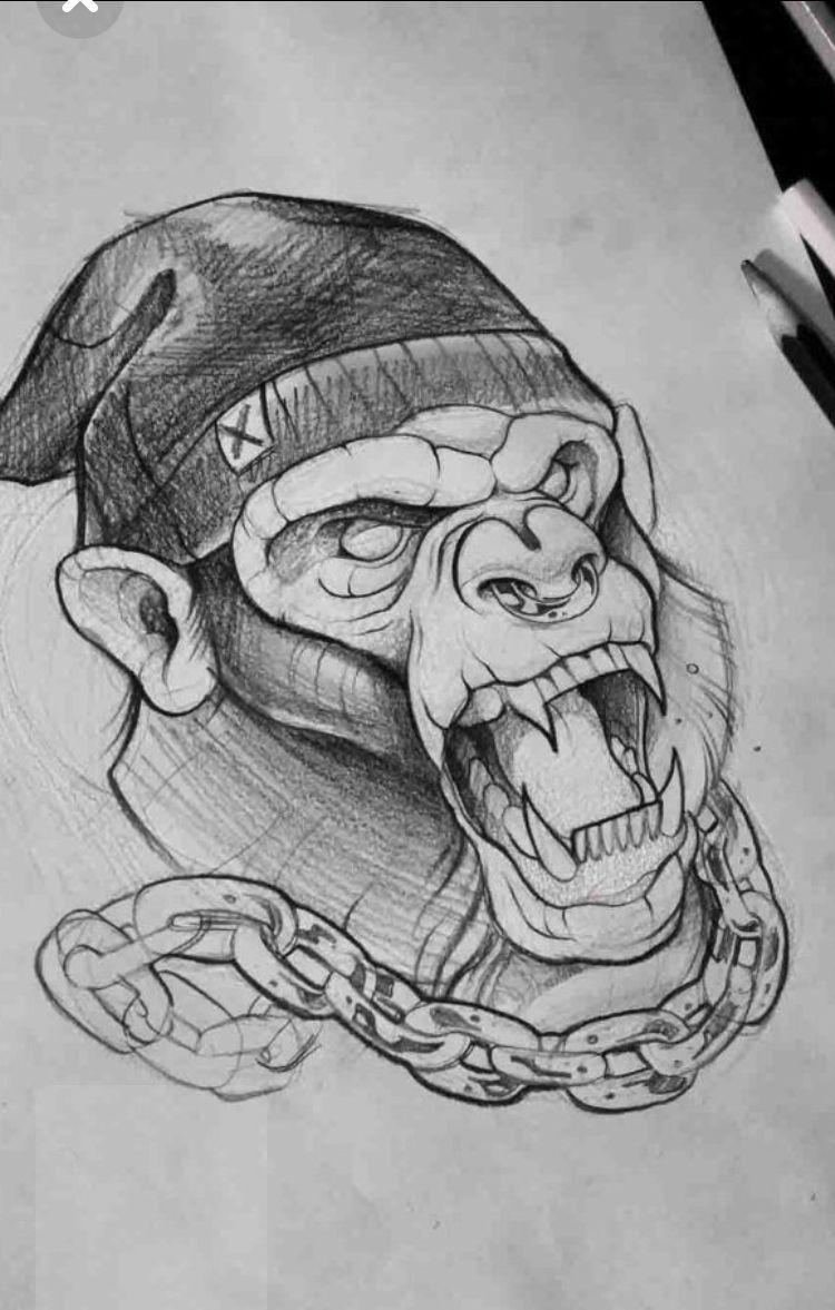 Skull cap monkey verrückten tattoos sleeve tattoos body art tattoos pencil drawings