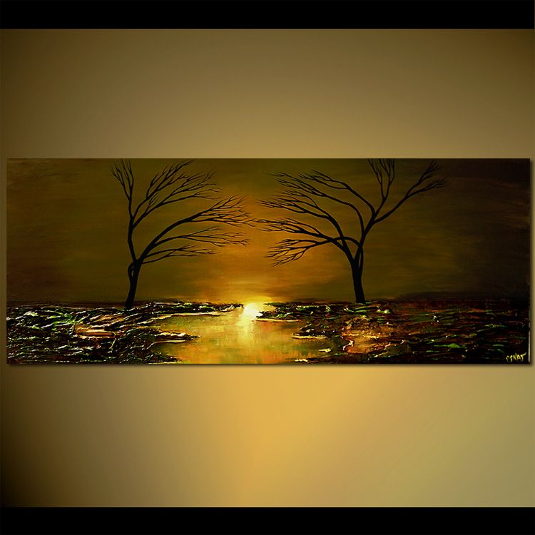 two trees reaching each other - Landscape and Modern Art Painting