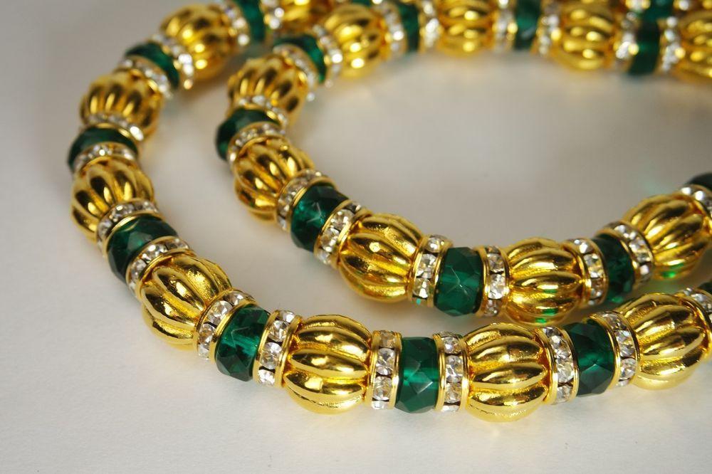 VINTAGE KENNETH  JAY LANE KJL GOLD PLATE GREEN RONDELLE GLASS BEADS RHINESTONE  #KennethJayLane