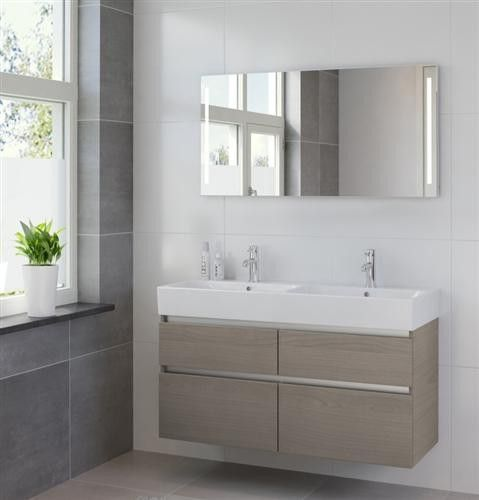 Bruynzeel Passo meubelset 120cm. met dubbele wastafel en spiegel led olm grijs - 223241K