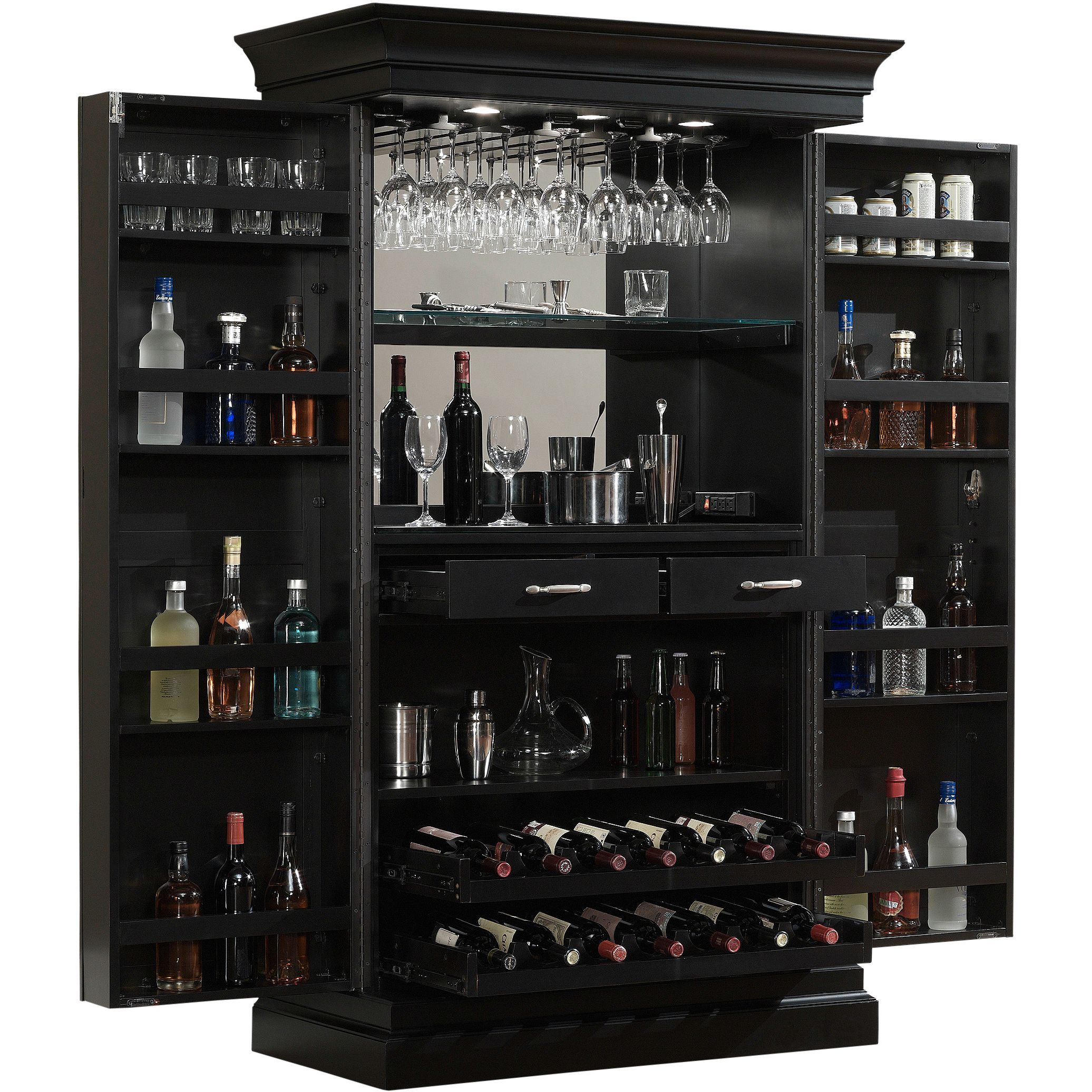 American Ashley Heights Black Stain Home Bar Wine Cabinet
