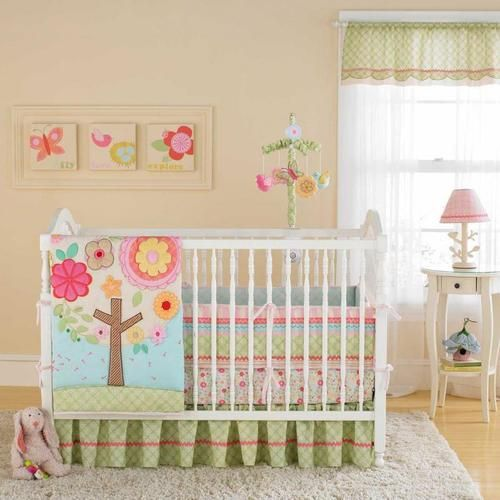 Cute Flower Tree 4pc Baby Girl Crib Bedding Set Pink and Green Flowers Blue Sky | eBay