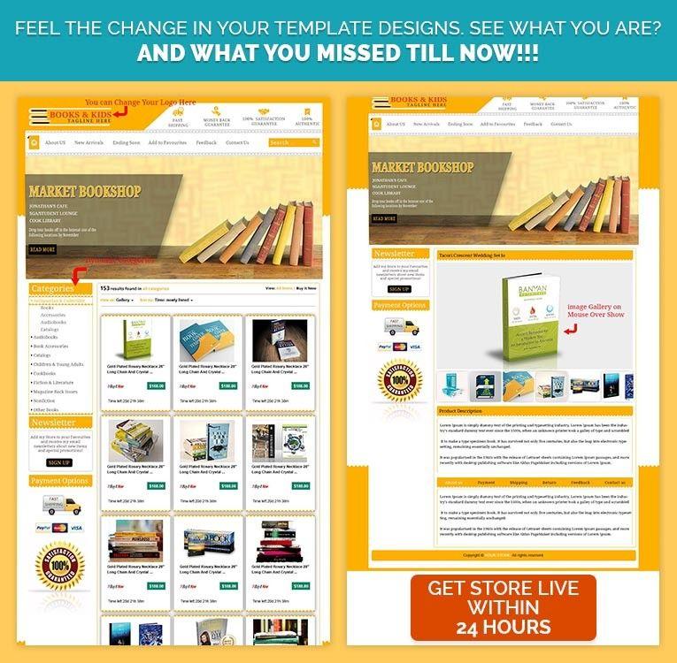 Yellow Theme Premium html eBay Listing Template Design for eBay Book ...