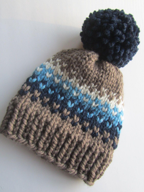 Brown and Blue Fair Isle Knit Hat, Fair Isle Hat, Knit Hat, Women\'s ...