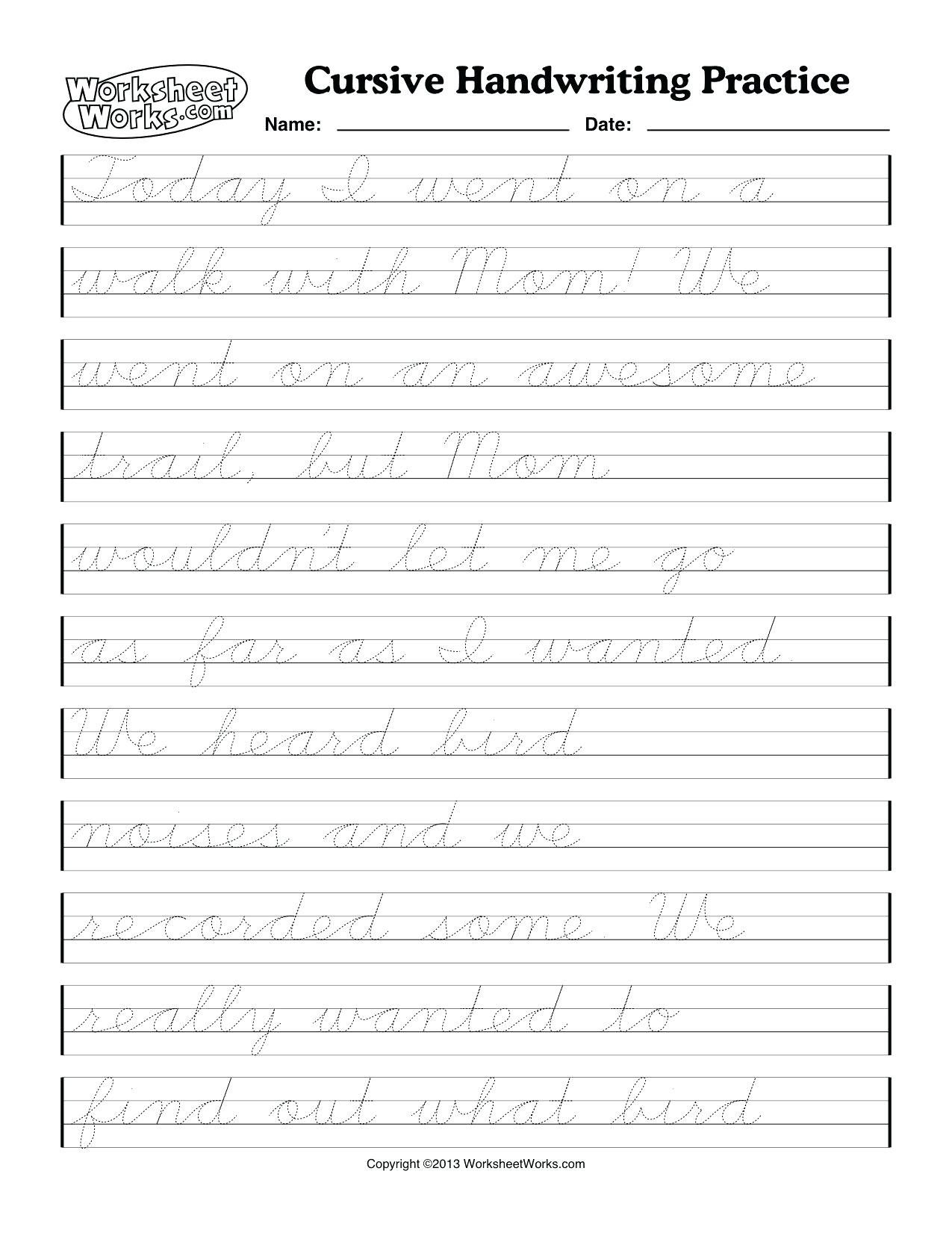 hight resolution of Printable Cursive Handwriting Practice Sheets