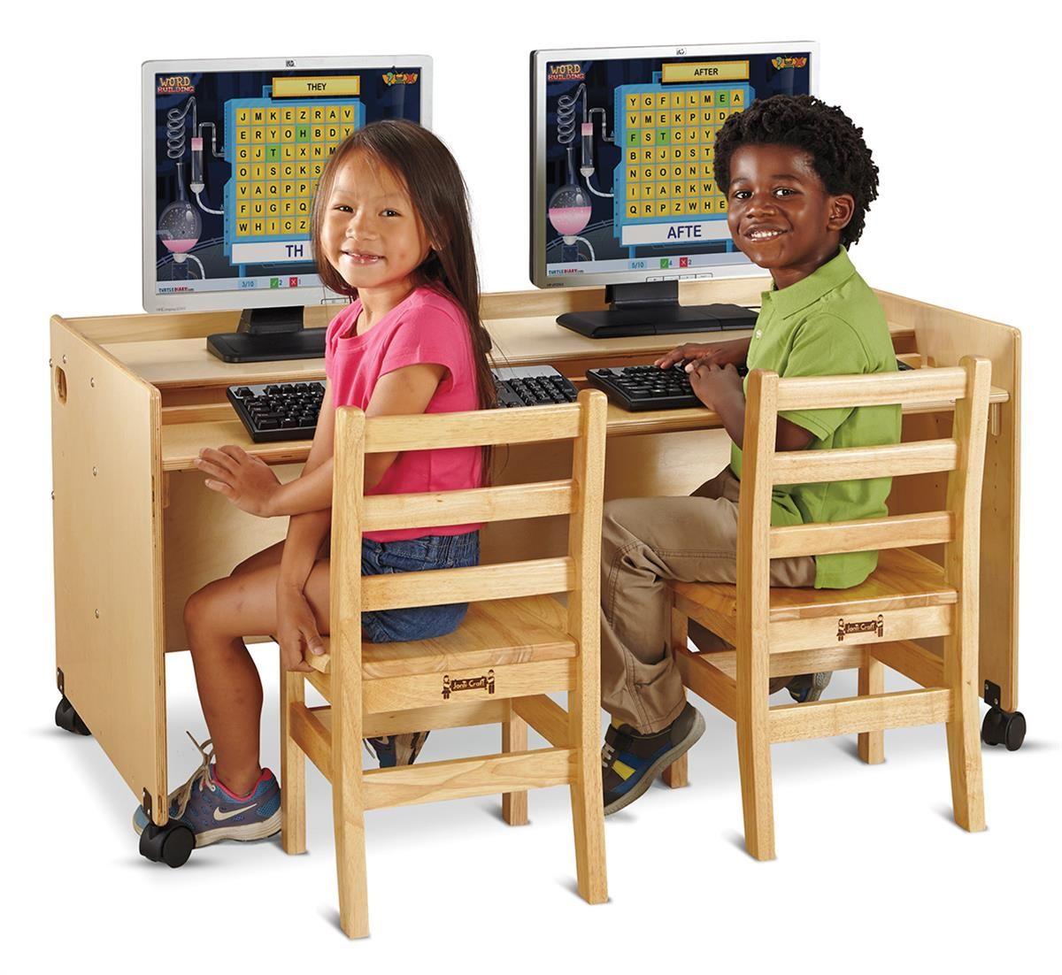 Double childrens desk w wheels jonticraft height