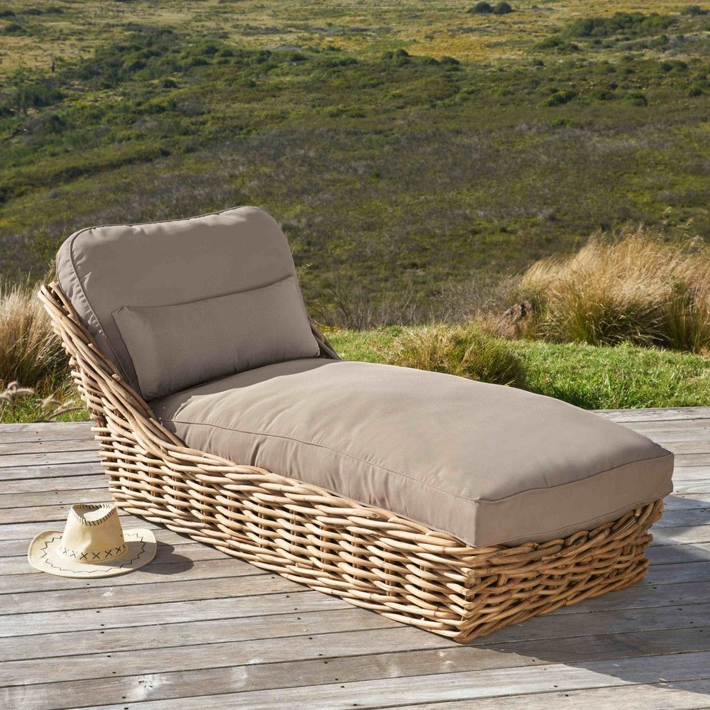 Sun Lounger Inspired By African Lodge Garden Chaise Longue In Rattan With Taupe Cu Rattan Outdoor Furniture Elegant Outdoor Furniture Rattan Garden Furniture