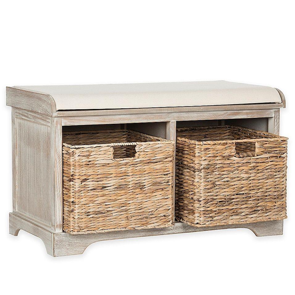 Safavieh Freddy Wicker Storage Bench In Winter Melody Wicker