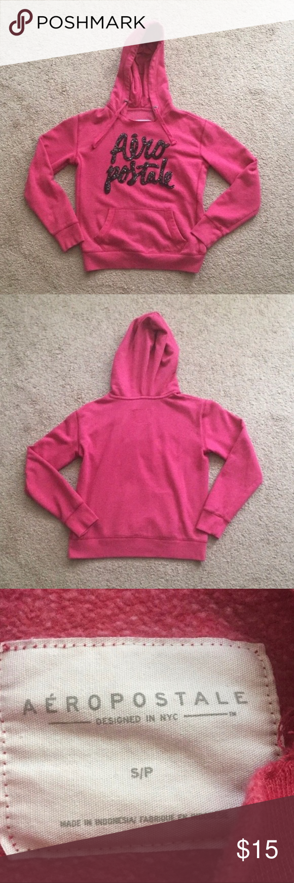 Aeropostale Women's Pink Hoodie Size S 👉Worn Lightly But