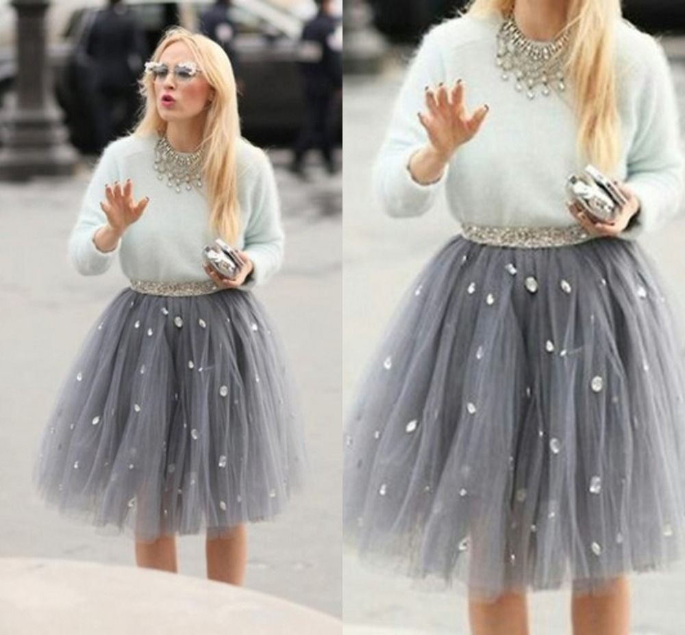 Cheap Tutu Bow Buy Quality Hanger Directly From China Sets Suppliers Hot Sale Casual Crystal Short Tulle Skirt Pleated Elegant Knee Length Women