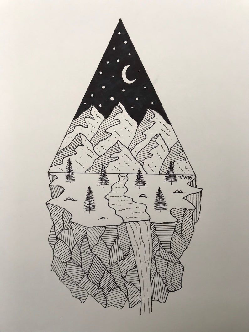 Black and white geometric mountain drawing framed wall art