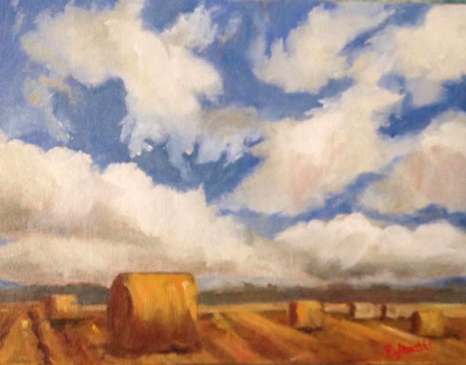 La campagna d'estate, i suoi colori, i suoi profumi , olio su tela 15x20