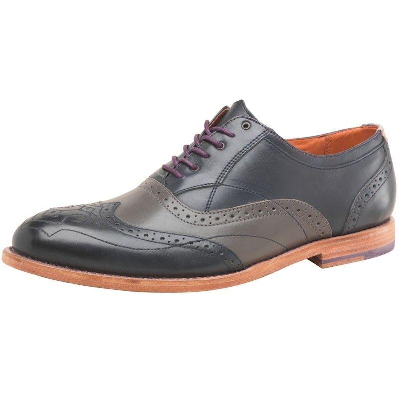 Ted Baker Mens Brogue Shoes Dark Blue Grey