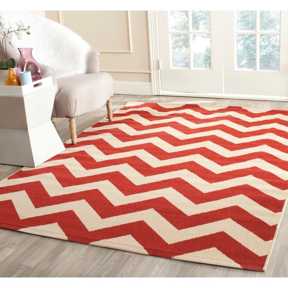 Safavieh Courtyard Chevron Orange Red Indoor Outdoor Rug 6 7 X 9 6