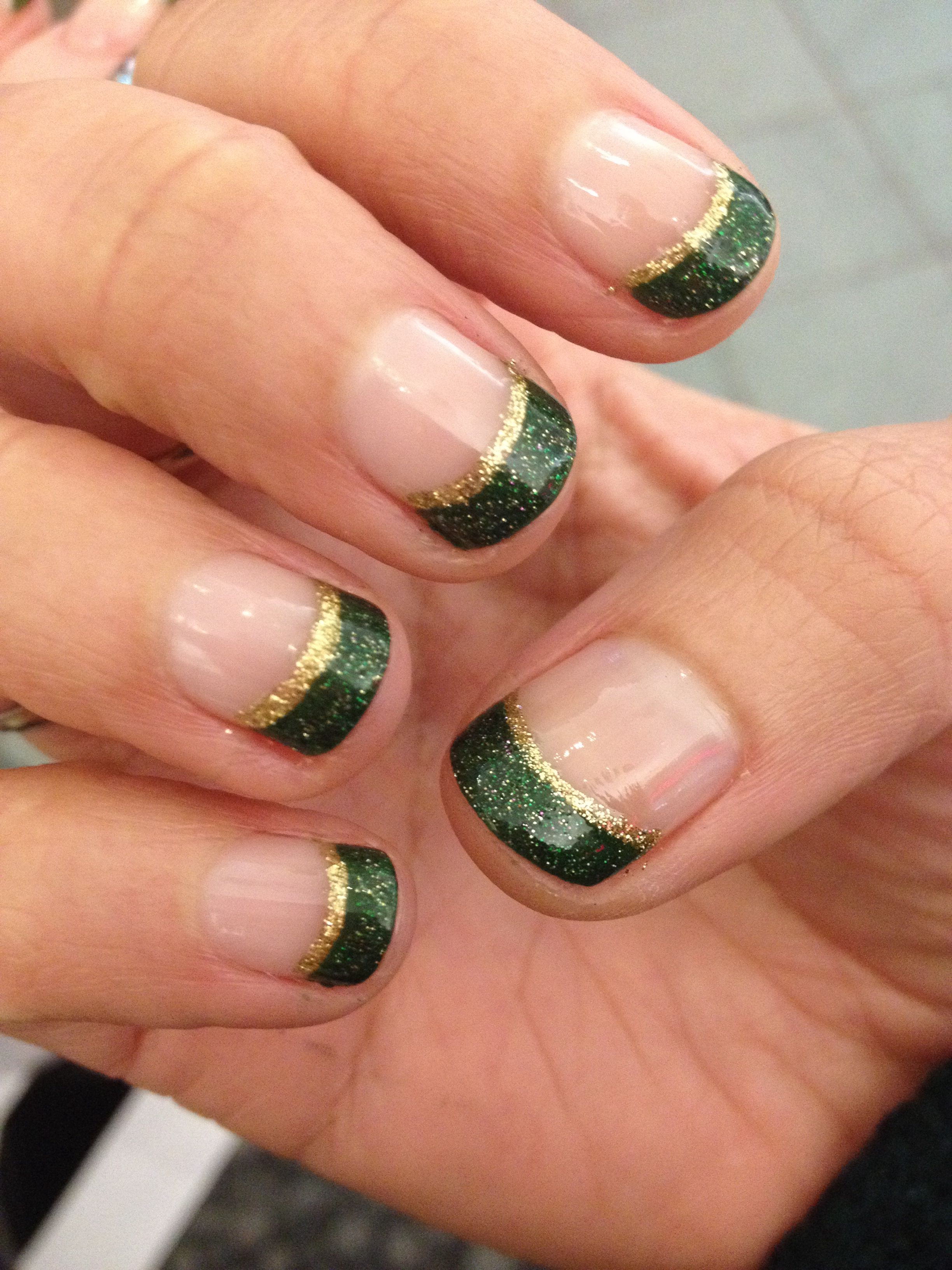 Holiday Xmas Christmas Nail Design Green Gold Glitter Gold Glitter Nails Christmas Nail