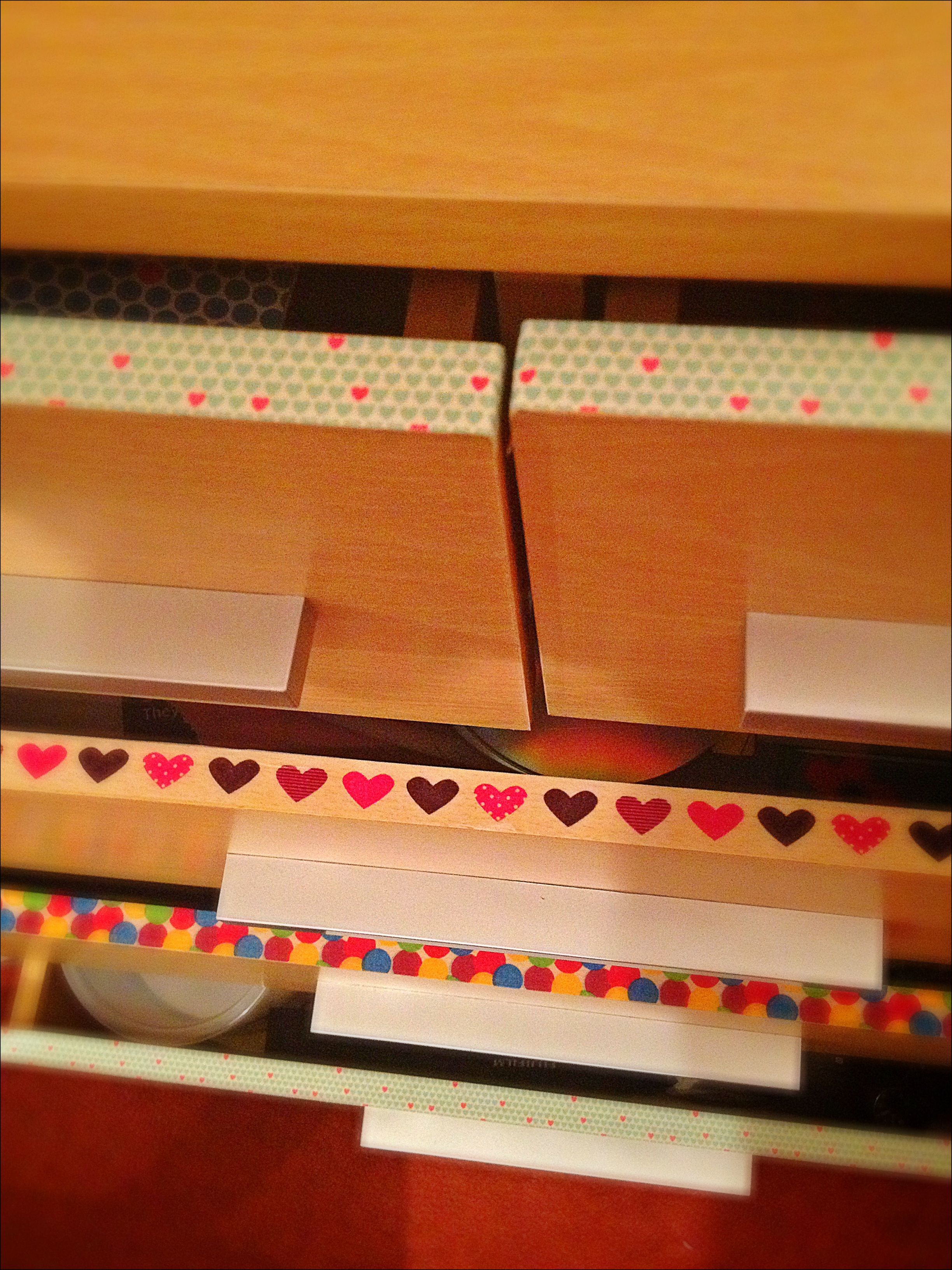 Washi tape ideas. A strip on the inside of drawers for a flash of colour & pattern :)