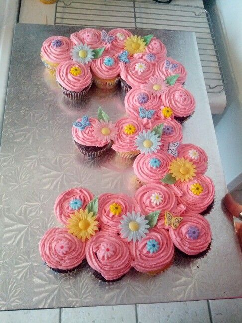 Image result for cake number 3 with cupcakes Rilynn 3 birthday