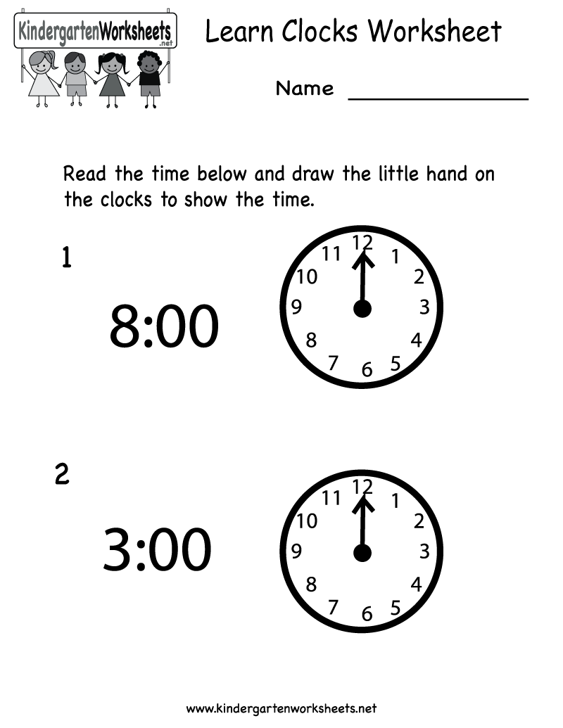 kindergarten learn clocks worksheet printable teaching kindergarten learning clock. Black Bedroom Furniture Sets. Home Design Ideas