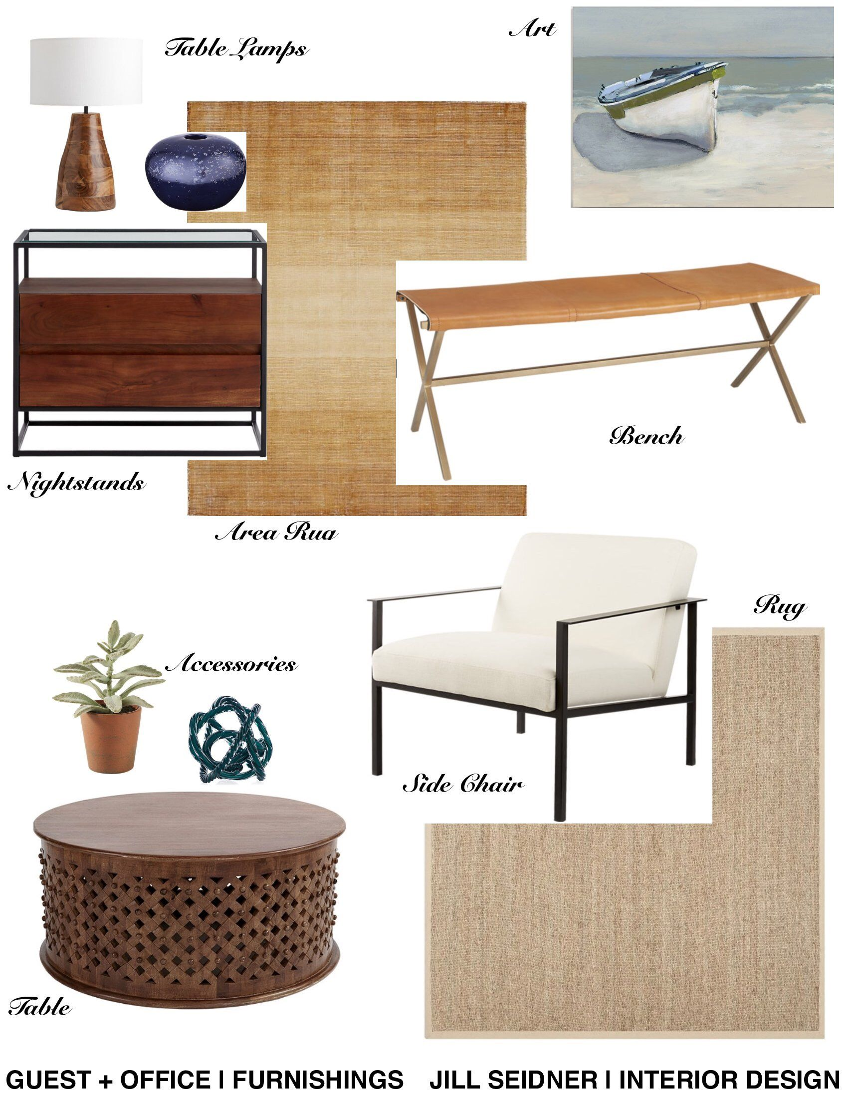 Pacific Palisades, CA Residence Guest + Office Furnishings Concept Board.  #InteriorDesign #Office
