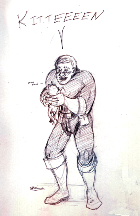 """tardiscrash:   this is what i do with my time.    [Fanart: Steve Rogers holding a cat and saying """"kitteeeen;"""" the second image is just the kitten, who is wearing an ac reactor collar and sunglasses, captioned """"also the cat is Tony (somehow)""""]"""