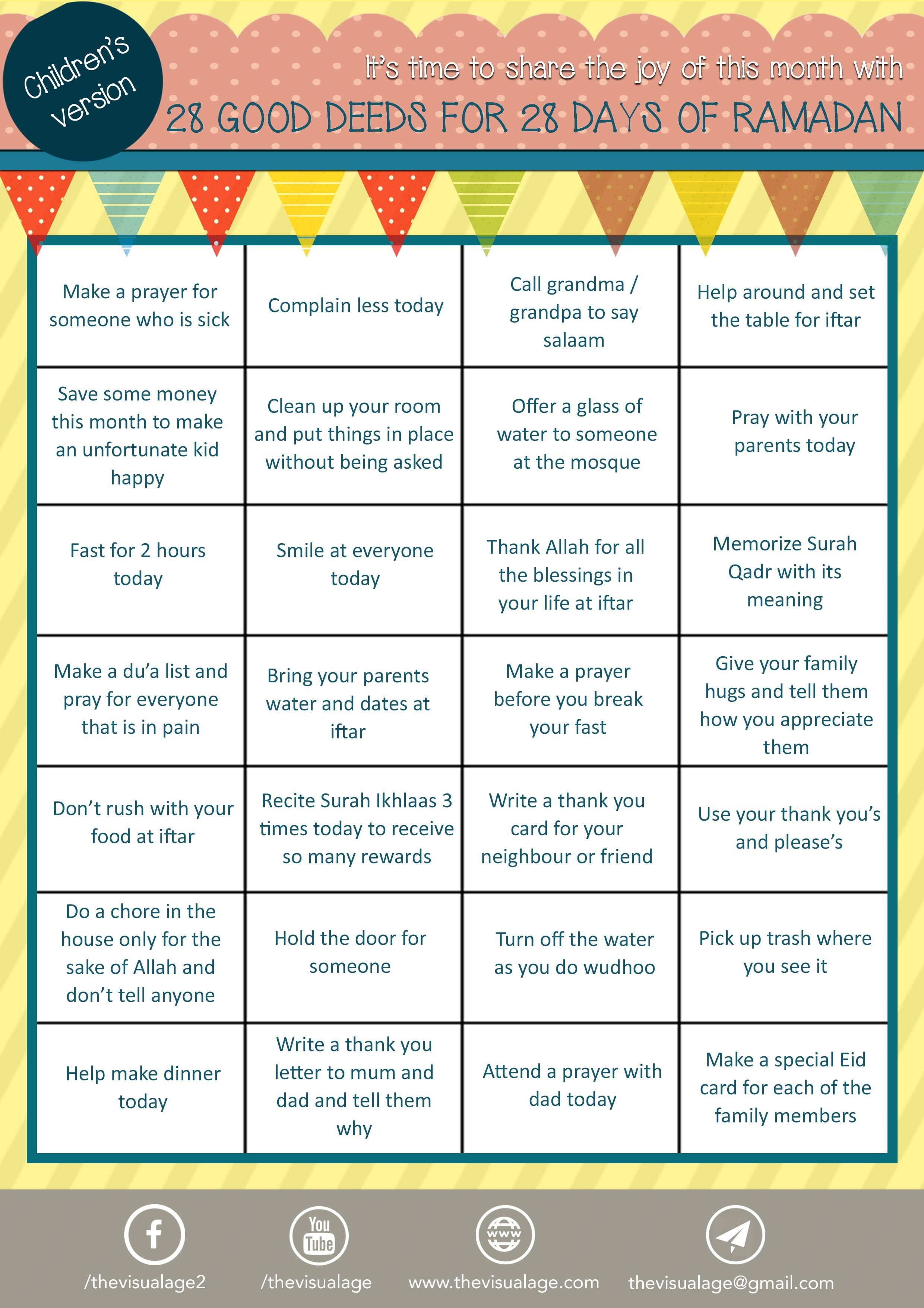 30 Good Deeds For 30 Days Of Ramadhan Kids Version