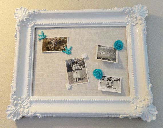 Ornate White Framed Cork Board with Decorative Push Pins - Message ...